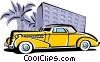 vintage automobile with palm trees and hotel Vector Clipart illustration