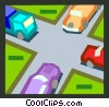 intersection with automobiles Vector Clipart picture