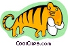 Vector Clip Art image  of a cartoon tiger