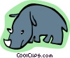 Vector Clip Art image  of a cartoon rhino