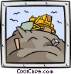 Vector Clipart graphic  of a bulldozer/construction