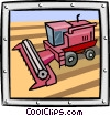 Vector Clip Art graphic  of a bulldozer/construction