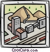 Vector Clip Art graphic  of a industry/factory