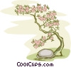 Bonsai tree with stone Vector Clipart graphic