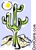 Vector Clipart image  of a cactus and sun
