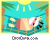 Vector Clip Art image  of a relaxing in the sun