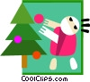 decorating the Christmas tree Vector Clipart image