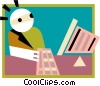 office worker at PC Vector Clipart picture