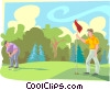 Vector Clipart graphic  of a Golfing