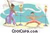 Vector Clipart graphic  of a limbo dancers