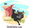 Vector Clip Art image  of a bullfighting