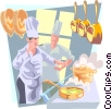 chefs in the kitchen Vector Clip Art image