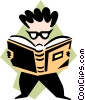 Vector Clipart picture  of a bookworm