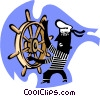 Vector Clipart graphic  of a steering a ship/navigation
