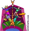 circus performers on giraffe Vector Clipart illustration