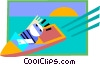 Vector Clip Art graphic  of a motor boat