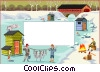 Vector Clip Art graphic  of a text backdrop / western scene