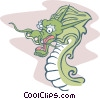 Vector Clip Art graphic  of a Fierce dragon