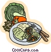 Vector Clipart graphic  of a Cabbage rolls with peppers