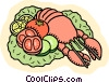 Lobster dinner Vector Clipart illustration