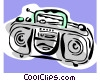 Vector Clip Art graphic  of a portable stereo