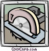 Vector Clip Art graphic  of a circular saw