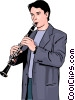 Vector Clipart graphic  of a clarinetist