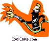 Vector Clip Art graphic  of a fireman