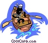 man in row boat Vector Clipart illustration