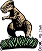Vector Clipart picture  of a Woodcut Tyrannosaurus