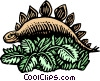Vector Clip Art picture  of a woodcut dinosaur