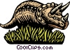 Woodcut Triceratops Vector Clip Art graphic