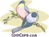 Birds on a branch Vector Clipart illustration