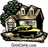 Woodcut house and car Vector Clipart illustration