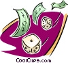 Vector Clipart picture  of a business gambling with money