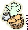 Vector Clip Art image  of a croissants and coffee