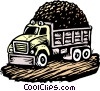 Woodcut dump truck Vector Clip Art graphic