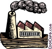 Woodcut factory Vector Clip Art picture