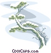 snow covered bonsai tree Vector Clipart graphic