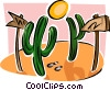 Vector Clip Art graphic  of a cactus trees with signs