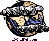 Vector Clip Art graphic  of a Clouds over planet earth
