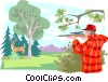 Vector Clipart graphic  of a deer hunter