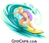 Vector Clipart graphic  of a surfer dude