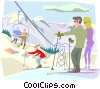 Skiers on top of hill Vector Clipart illustration