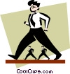 Vector Clip Art graphic  of a businessmen walking