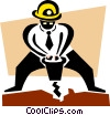 Vector Clip Art image  of a construction worker