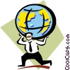 carrying the weight of the world on his shoulders Vector Clipart graphic
