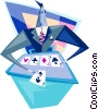 Vector Clip Art image  of a holding five aces