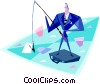 Vector Clipart graphic  of a fishing for prospects