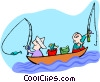 Vector Clip Art graphic  of a fishermen